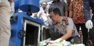 Kapolrestabes Medan memimpin langsung pemusnahan barang bukti narkoba