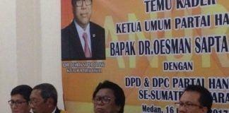 Kedatangan Osman Sapta Odang dalam Temu Kader Hanura Sumut