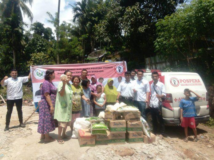 DPD DEMA Pospera Sumut dan Unimed Serahkan Bantuan Kepada korban Banjir Padang Sidempuan