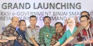 Peluncuran lima aplikasi layanan pemerintahan berbasis elektrik (E-Government) di Kota Binjai