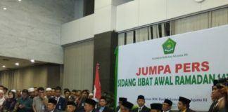 Foto: Menag Lukman Hakim Saifuddin menyampaikan hasil sidang Isbat awal Ramadlan kepada pers.