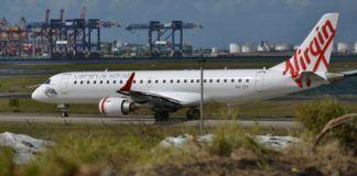Pesawat Virgin Airlines yang diduga menerima ancaman bom. (AFP)