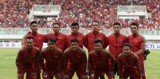 Skuat Timnas Indonesia U-22 saat menghadapi Myanmar di laga uji coba