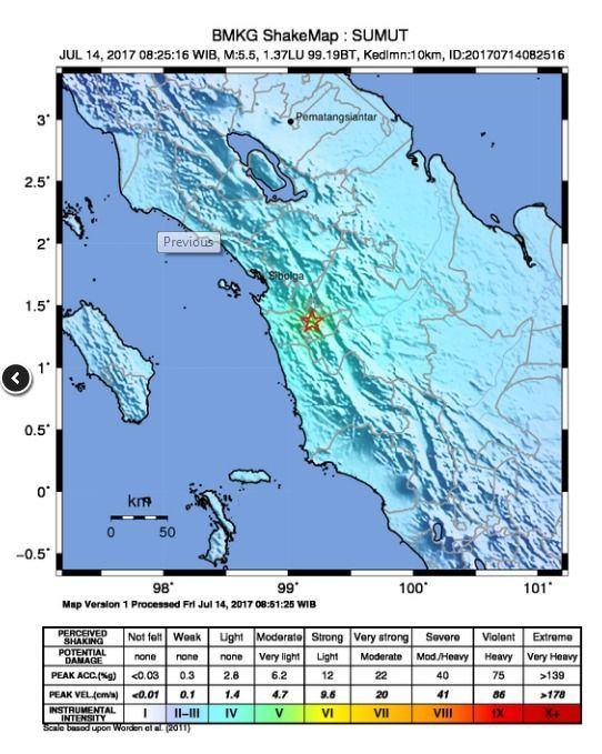 Gempa 5,5 SR Guncang Kota Salak