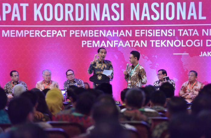 Presiden Jokowi pada Pembukaan Rakornas Pengendalian Inflasi Tahun 2017, di Hotel Grand Sahid Jaya, Jakarta Pusat, Kamis (27/7).
