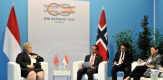 Pertemuan Bilateral Presiden Jokowi dan PM Erna Solberg di Hamburg Messe, Jerman, Sabtu (8/7) siang waktu setempat.