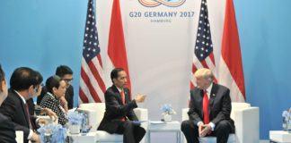 Foto: Pertemuan Bilateral Presiden Jokowi dengan Presiden Trump, di Hamburg Messe, Sabtu (8/7) siang waktu setempat.