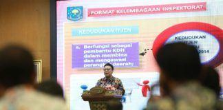 Menteri Dalam Negeri (Mendagri) Tjahjo Kumolo hadir dalam acara Nota Kesepahaman (MoU) Pengembangan Center of Excellence di Badan Pengawasan Keuangan dan Pembangunan (BPKP), Selasa (18/7).