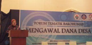 Foto: Staf Ahli Mendes PDTT Rosari Tyas Wardani, dalam acara Forum Bakohumas Kementerian Desa PDTT di Hotel Melia Purosani, Yogyakarta, Kamis (27/7).