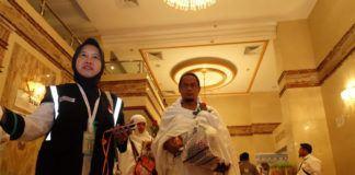 Foto: Jemaah haji kloter pertama embarkasi Medan (MES 01) tiba di Makkah, Minggu (6/4).