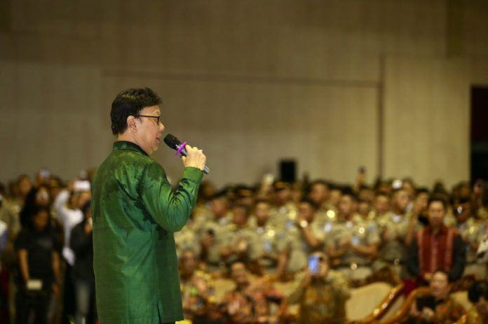 Foto: Menteri Dalam Negeri (Mendagri) Tjahjo Kumolo ketika di Kampus Institut Pemerintahan Dalam Negeri (IPDN) Jatinangor Sumedang.