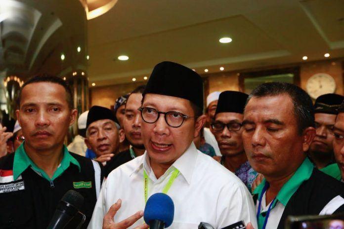 Foto: Menteri Agama Lukman Hakim Saifuddin usai menghadiri 'Silaturahmi NU Sedunia' di Hotel Arkan Bakkah, Mekah, Selasa (29/8).