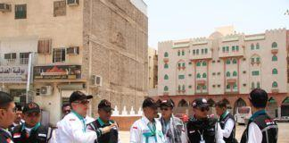 Foto: Tim transportasi dan perlindungan jemaah tinjau rute layanan bus Salawat di Madinah.