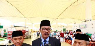 Foto: Duta Besar RI untuk Saudi Agus Maftuh Abegebriel beri keterangan pers usai melepas SOC 01 di Bandara Jeddah, Rabu (6/9).