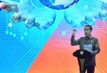 "Foto: Presiden Jokowi memberikan sambutan pada acara Economic Talkshow ""Ekonomi Baru di Era Digital"" sekaligus pembukaan Indonesia Business & Development Expo, di JCC, Senayan, Jakarta, Rabu (20/9)."
