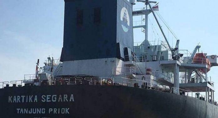 Kapal tanker Kartika Segara yang bertabrakan dengan kapal keruk milik Republik Dominika (Foto: Channel News Asia/Mediacorp).
