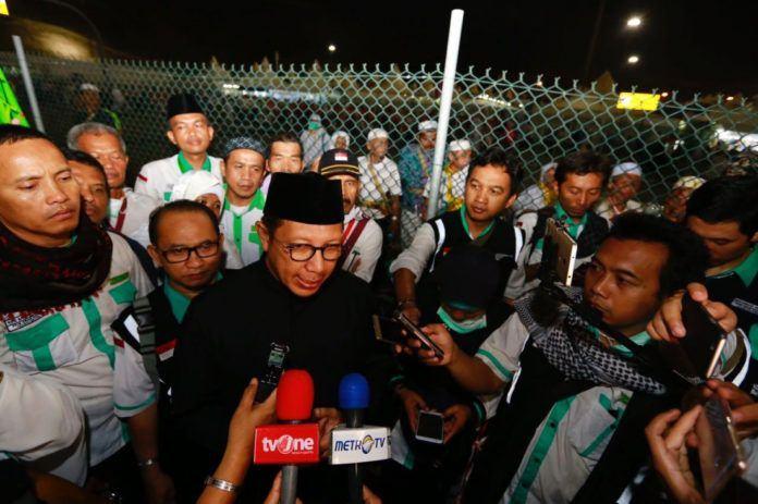 Foto: Menteri Agama Lukman Hakim Saifuddin beri keterangan pers usai tinjau KKHI Mina, Sabtu (2/9).
