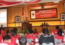 Foto: Mendagri saat memberikan sambutan dalam acara kaderisasi dan pendalaman organisasi Rajatikam 2017 di Yogyakarta, Kamis (21/9).