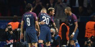 Foto: Selebrasi kemenangan skuat Paris Saint Germain. (AFP PHOTO / FRANCK FIFE)