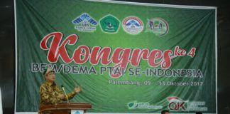 Foto: Menag Lukman Hakim Saifuddin beri sambutan pada Kongres ke-4 BEM/DEMA PTAI se-Indonesia, Rabu (11/10).