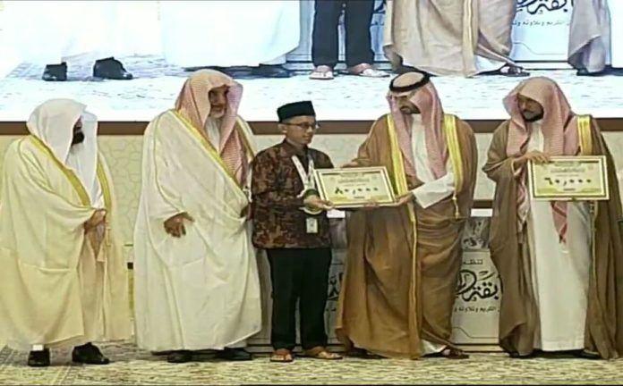 Foto: Muhammad Abdul Faqih, santri peraih terbaik III Musabaqah Hafalan Quran tingkat Internasional 2017 di Saudi.