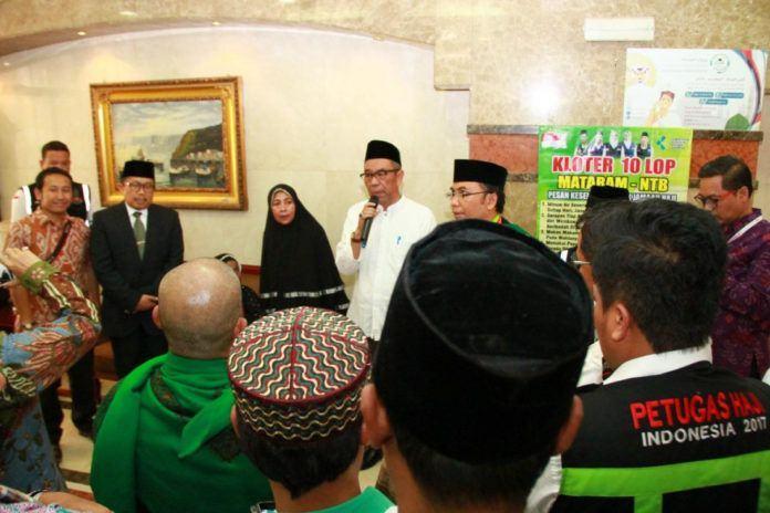 Foto: Sekjen Kemenag Nur Syam beri sambutan pada pelepasan kloter terakhir jemaah Indonesia di Madinah.