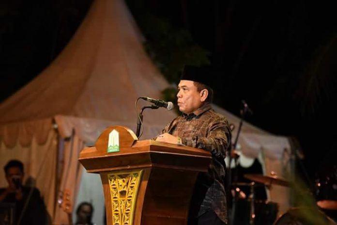 Foto: Gubernur Aceh Irwandi Yusuf beri sambutan selamat datang dalam pembukaan Pentas PAI ke-VIII.
