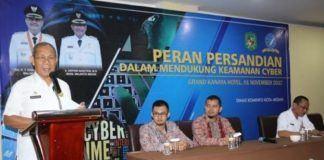 Foto: Asisten Pemerintah dan Sosial Drs Musaddad Nasution membuka Seminar Peran Persandian dalam mendukung Keamanan Cyber di Hotel Grand Kanaya, Rabu (1/11).