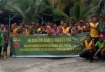 Koramil 13 Aek Nabara Dan Polsek Bilah Hulu, Laksanakan Gotong Royong