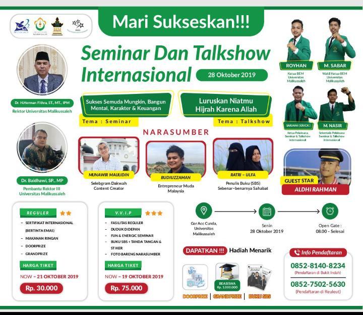 Universitas Malikussaleh, Talkshow Internasional Siap Inspirasi Ribuan Peserta
