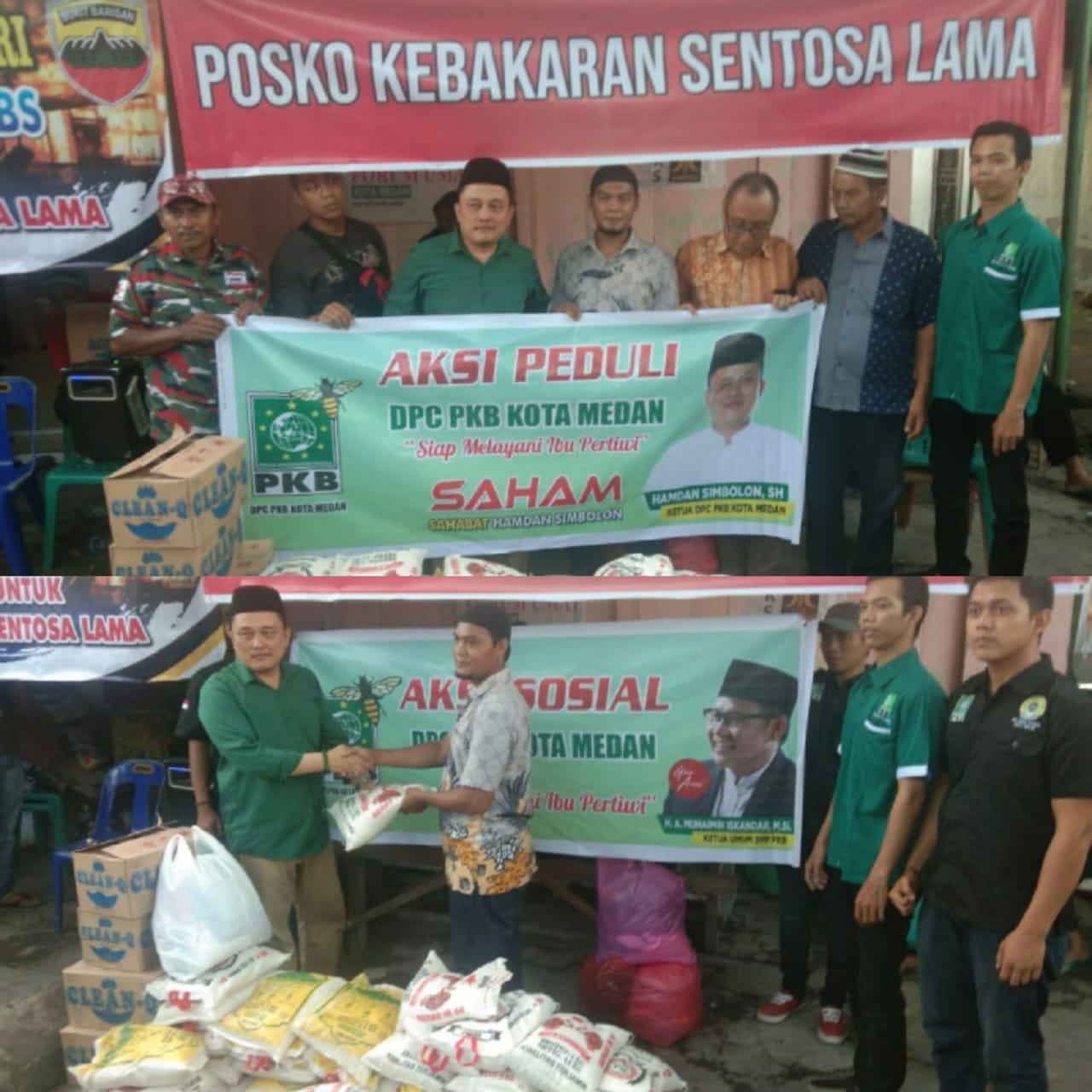 Ketua DPC PKB Medan, Serahkan Bantuan Korban Kebakaran Sentosa Lama
