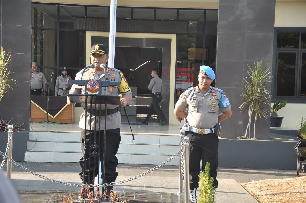 Kapolres Banjar, Pimpin Apel Pergeseran Pasukan Pengamanan Pilkades Serentak 2019