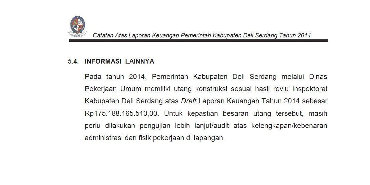 GDSM Deli Serdang, BPK RI Temukan Hutang Pemkab Kepada Rekanan Swakelola