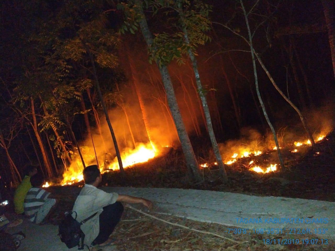 Kebun Terbakar Ciamis, Warga Padamkan Api dengan Alat Seadanya