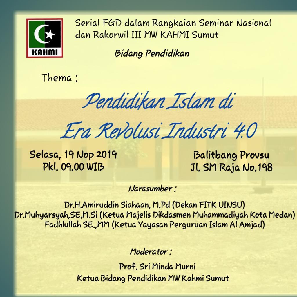 FGD KAHMI Sumut, Pendidikan Islam Era Revolusi Industri 4.0