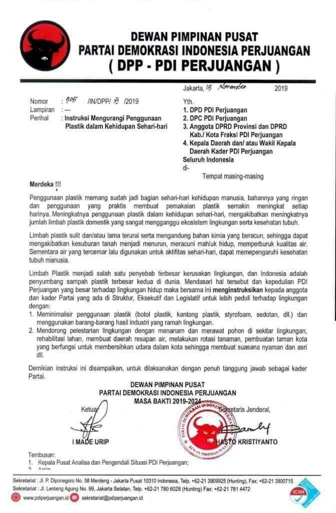 DPD PDIP Sumut, Siap Melaksanakan Instruksi DPP PDIP Mengurangi Penggunaan Plastik