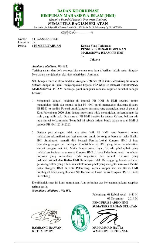 HMI Cabang Lubuklinggau, Tolak Kongres Kubu Saddam dan Arya