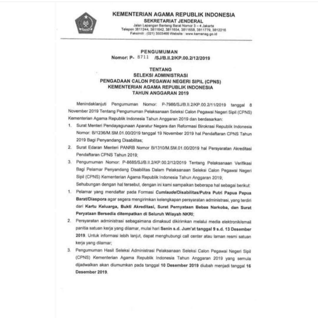 CPNS 2019, Kemenag Undur Pengumuman Seleksi Administrasi