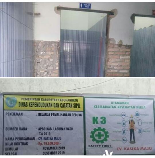 Proyek Syarat Korupsi, Belanja Pemeliharaan Gedung Disdukcapil Labuhanbatu