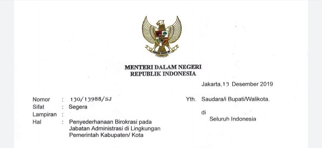 Penyederhanaan Birokrasi, Jabatan Administrasi di Lingkungan Pemerintah Kabupaten/ Kota