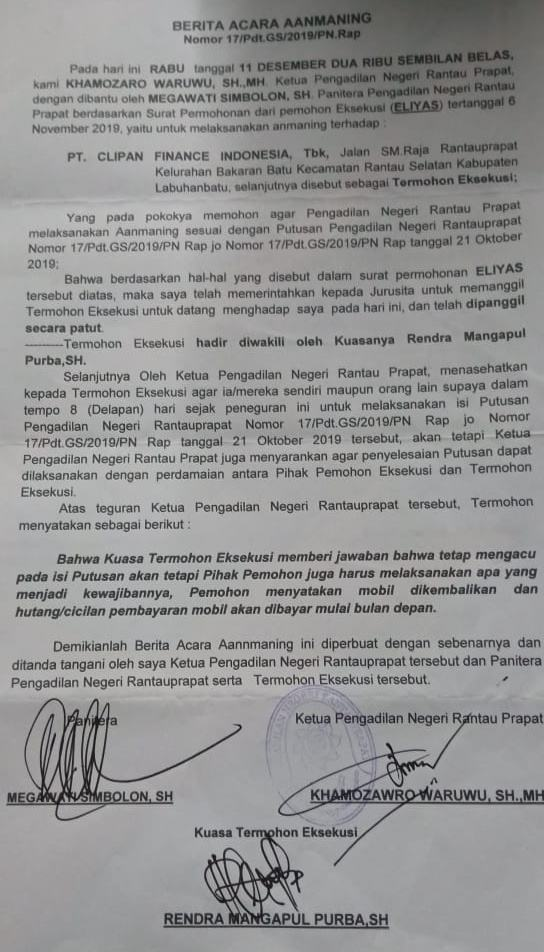 Clipan Finance Indonesia, Tak Tunduk pada Putusan PN Rantauprapat