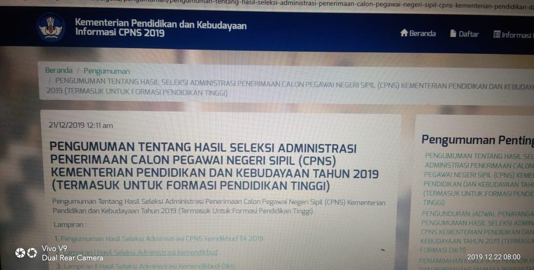 CPNS Kemendikbud 2019, Ini Info Hasil Administrasi
