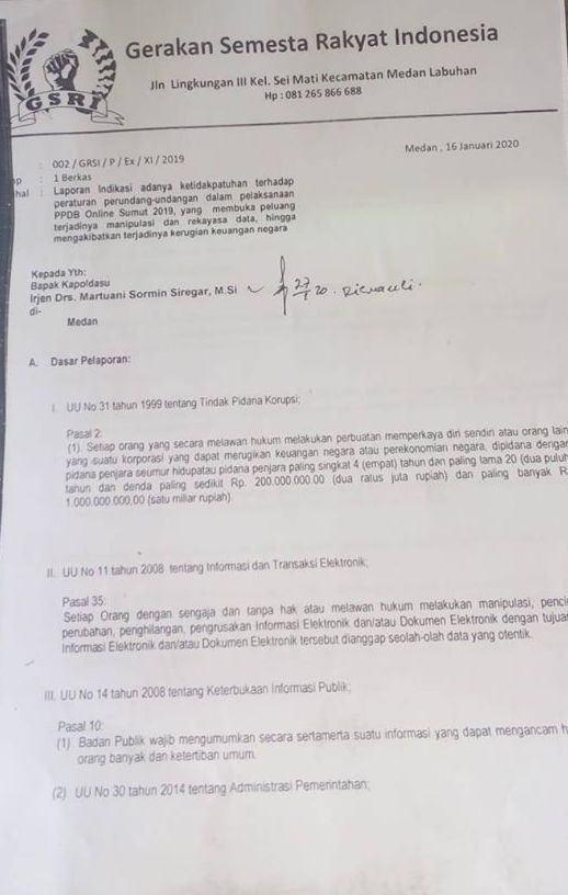 GSRI Laporkan PPDB Bergaya Online Zonaku ke Poldasu