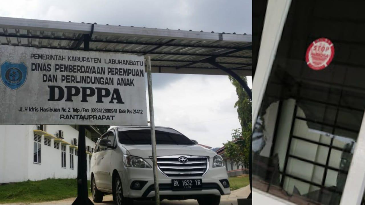 Tak Terima Ibunya Ditipu, Honorer DPPPA Labuhanbatu Pecahin Kaca Kantor