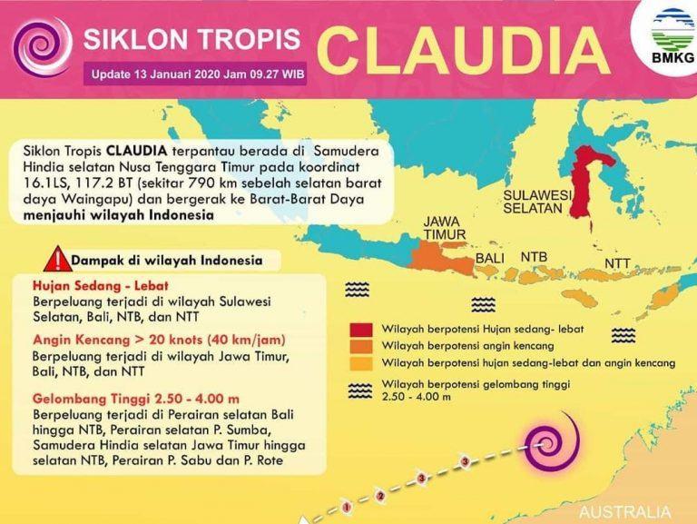 Waspada Siklon Tropis Claudia, Hujan Lebat, Kilat dan Angin Kencang hingga 15 Januari