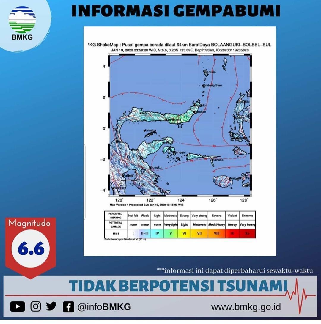 Gempa Magnitudo Guncang Sulawesi Utara