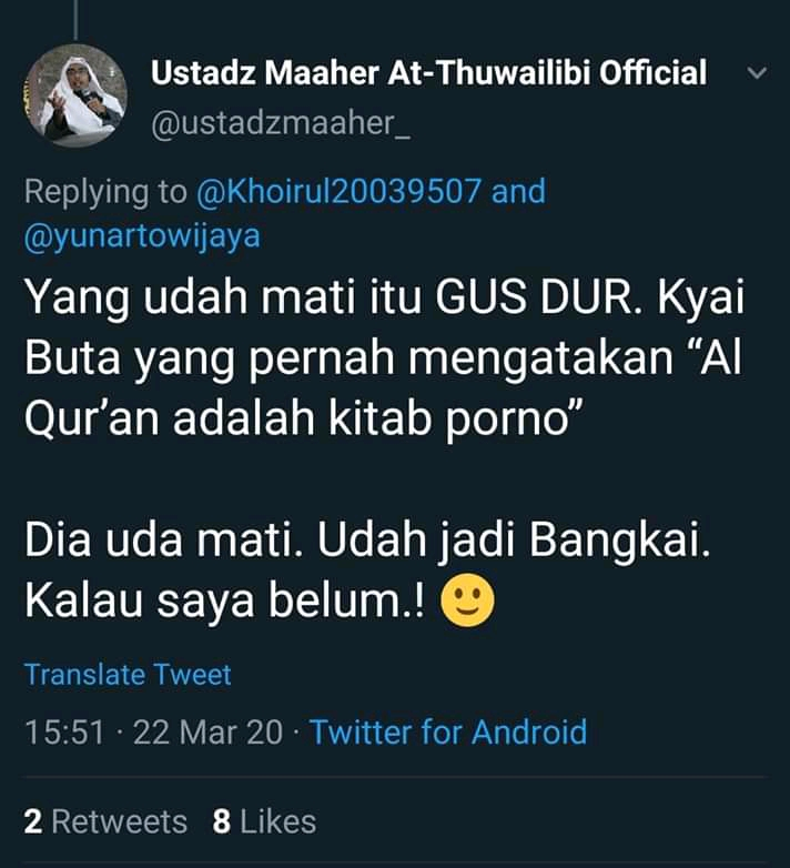 Pejuang Islam Nusantara Sumut, Akan Laporkan Maher Thuwailibi ke Polisi Atas Dugaan Menghina Gusdur