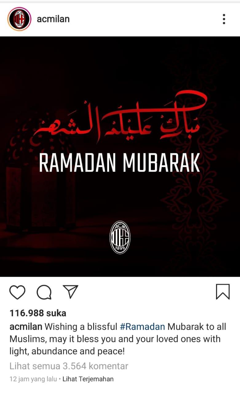 Empat Klub Sepak Bola Ternama Eropa, Ucapkan Selamat Ramadhan, Tinggal di Rumah