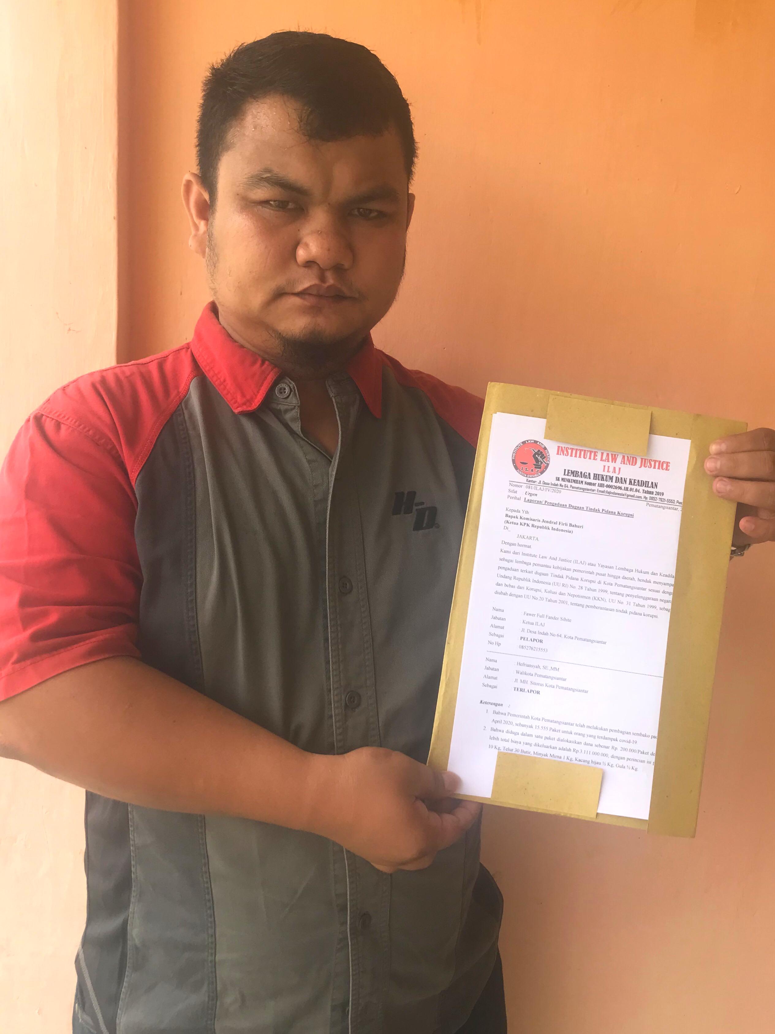 Terkait Sembako, ILAJ Resmi Laporkan Walikota Siantar ke KPK