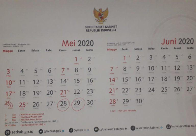 Pemerintah: Cuti Bersama Idul Fitri 26-29 Mei 2020 Diganti 28-31 Desember 2020